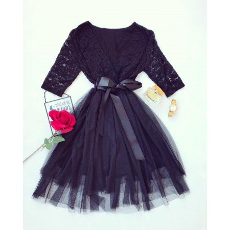 Rochie eleganta scurta neagra din dantela si tul cu cordon