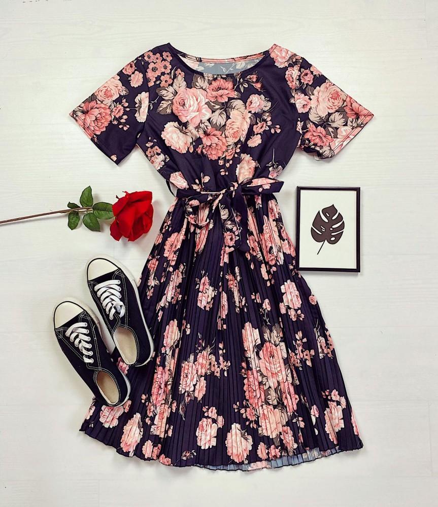 Rochie neagra bleumarin de zi eleganta cu cordon si imprimeu floral