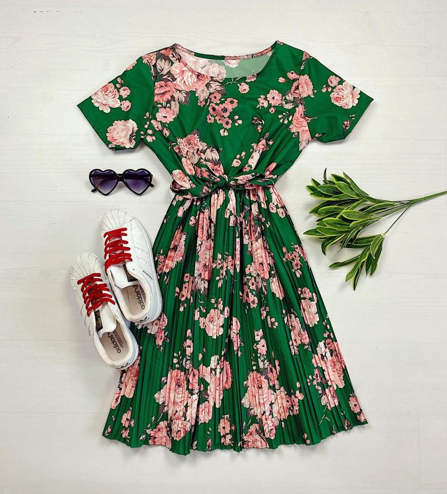 Rochie lunga de zi verde cu imprimeu floral si cordon