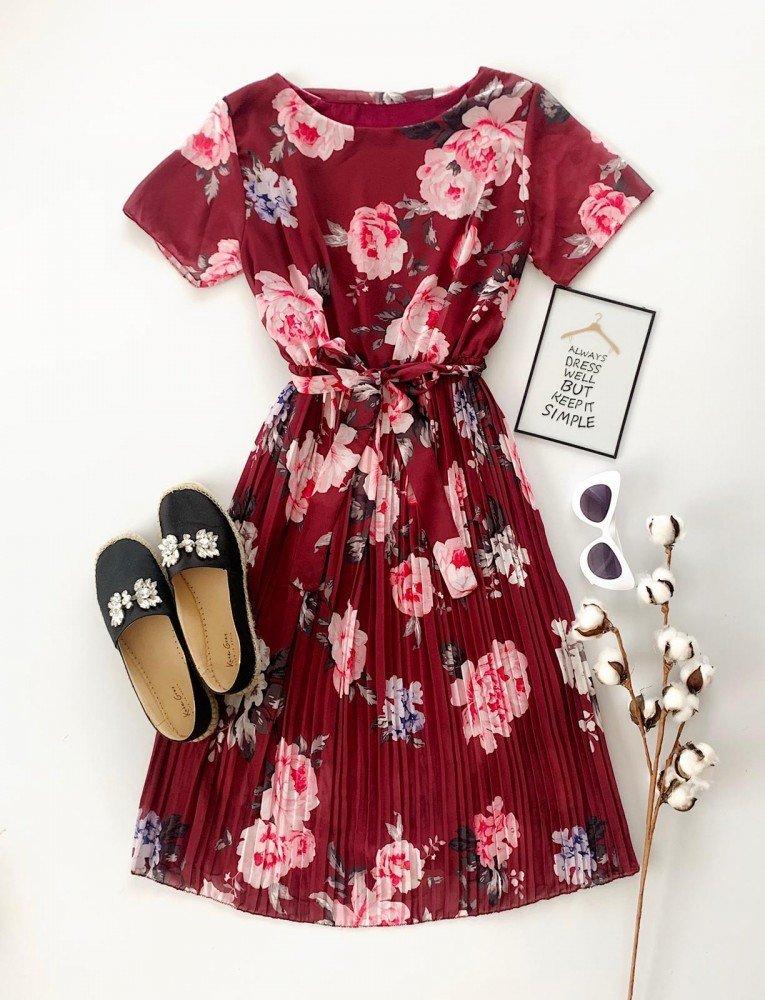 Rochie lunga de zi visinie cu imprimeu floral si cordon
