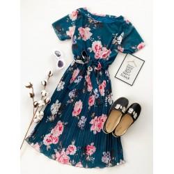 Rochie lunga bleumarin de vara cu imprimeu floral si cordon