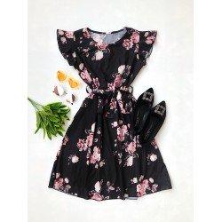 Rochie scurta neagra de vara cu imprimeu floral si cordon