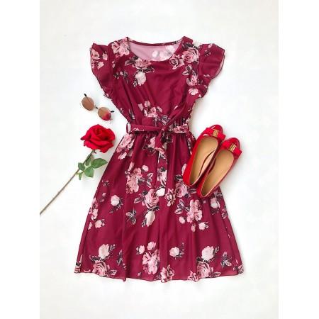 Rochie scurta visinie de vara cu imprimeu floral si cordon
