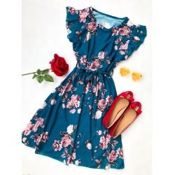Rochie scurta albastra de vara cu imprimeu floral si cordon