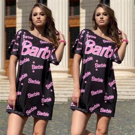 Rochie scurta de vara neagra cu imprimeu Barbie roz