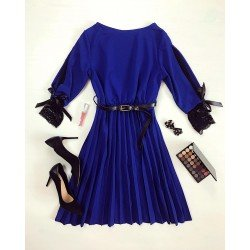 Rochie eleganta albastra pana la genunchi in forma cloche curea inclusa