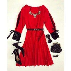 Rochie dama eleganta rosie pana la genunchi cu curea inclusa