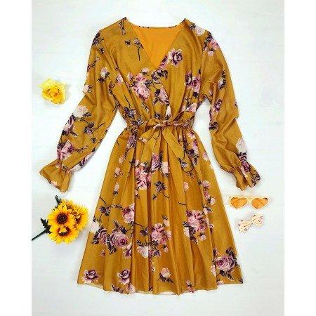 Rochie galben mustar eleganta cu imprimeu floral si cordon in talie