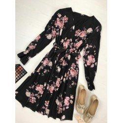 Rochie neagra eleganta pana la genunchi cu imprimeu floral si cordon
