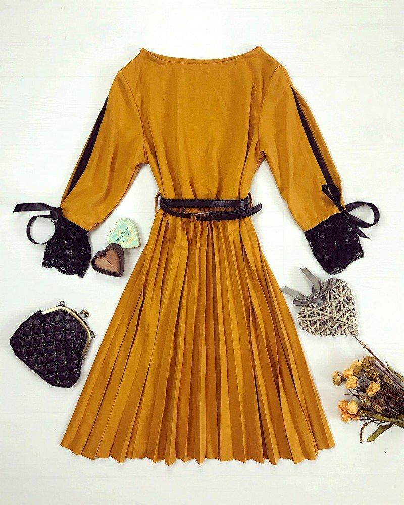 Rochie eleganta de zi galben mustar curea inclusa