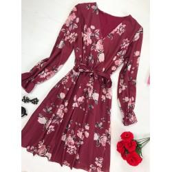 Rochie visinie eleganta cu imprimeu floral cu maneca lunga si cordon