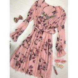 Rochie dama roz cu imprimeu floral eleganta cu maneca lunga si cordon