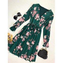 Rochie eleganta verde cu imprimeu floral si cordon