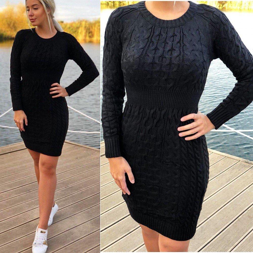 Rochie scurta de zi neagra tricotata