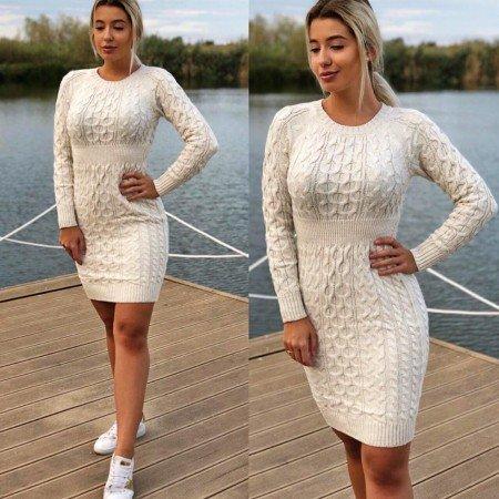 Rochie scurta de zi casual crem tricotata