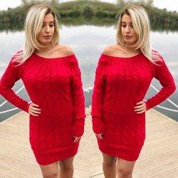 Rochie scurta tricotata de culoare rosie casual de zi