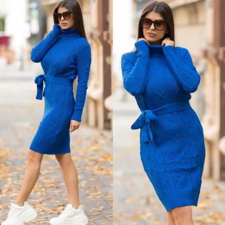 Rochie tricotata dama albastra pana la genunchi pe gat