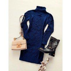 Rochie tricotata dama bleumarin pana la genunchi pe gat