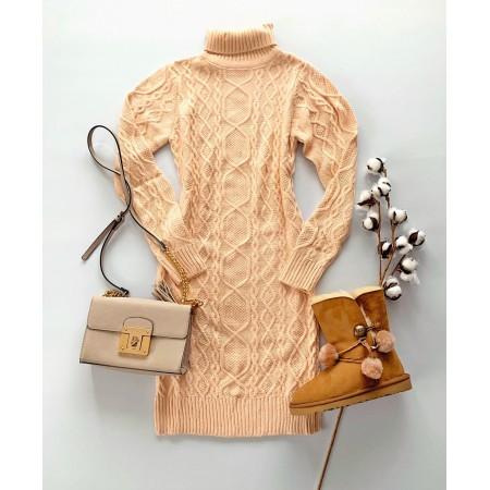 Rochie tricotata groasa pentru iarna pana la genunchi