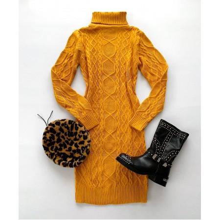 Rochie galbena tricotata cu model superb groasa pentru iarna