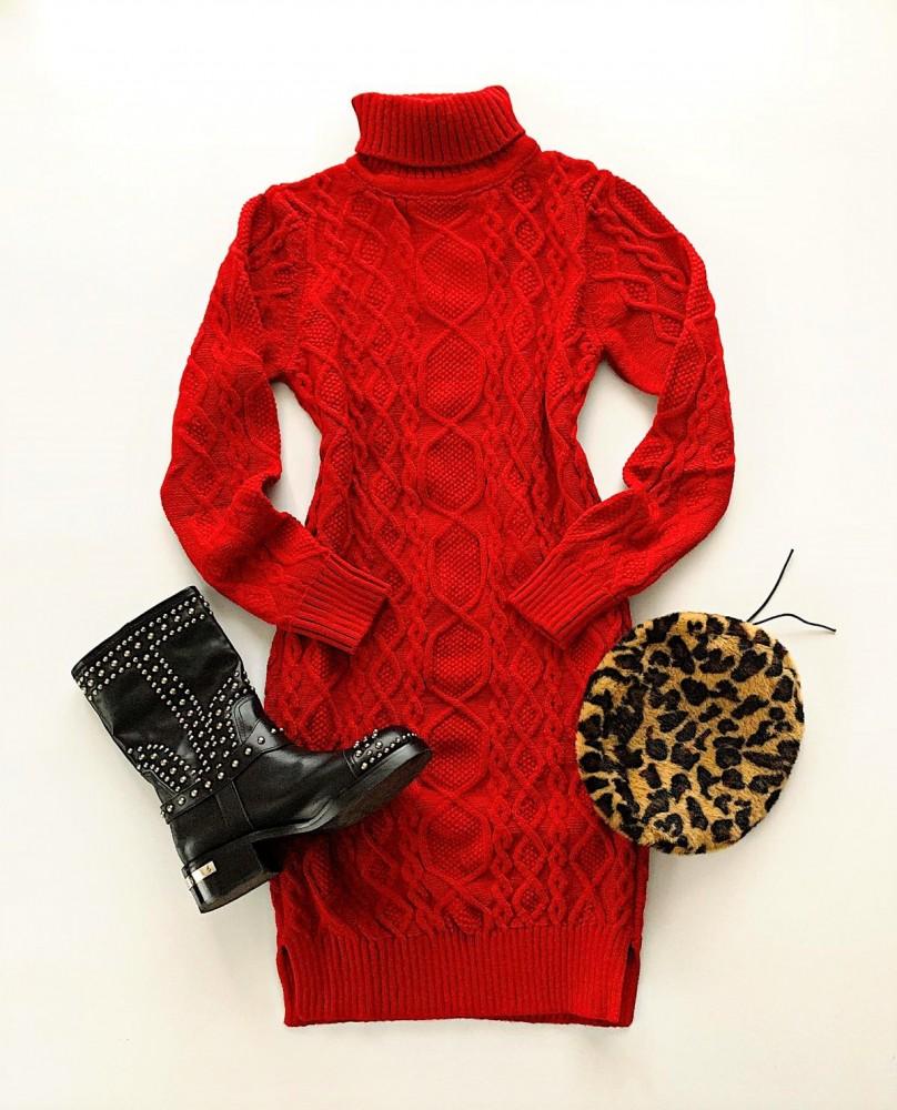 Rochie rosie tricotata casual de zi groasa pentru iarna