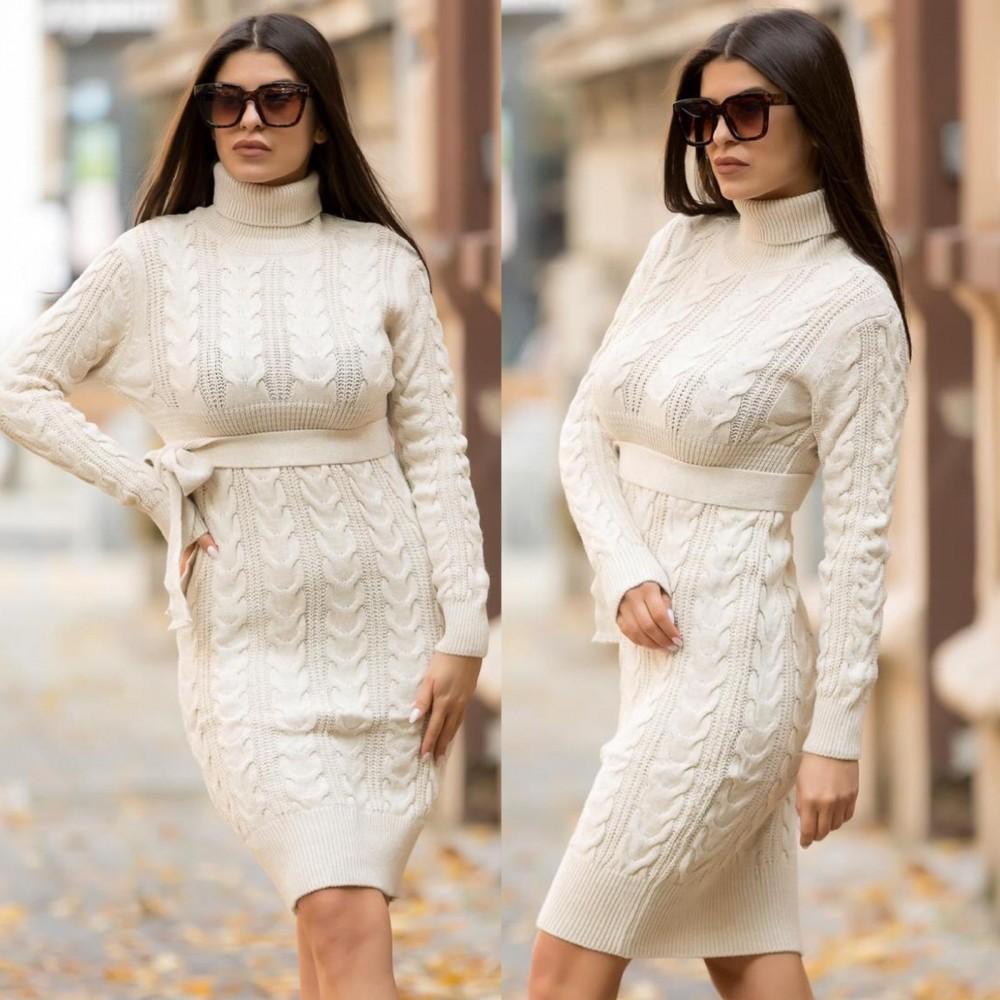 Rochie tricotata crem deschis groasa pentru iarna