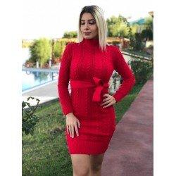 Rochie rosie din tricot cu cordon casual groasa