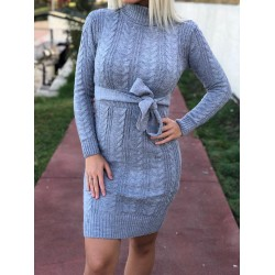 Rochie gri tricotata cu cordon groasa casual