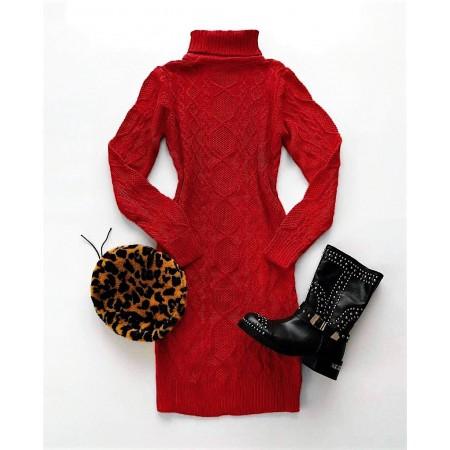 Rochie scurta visinie tricotata groasa pentru iarna