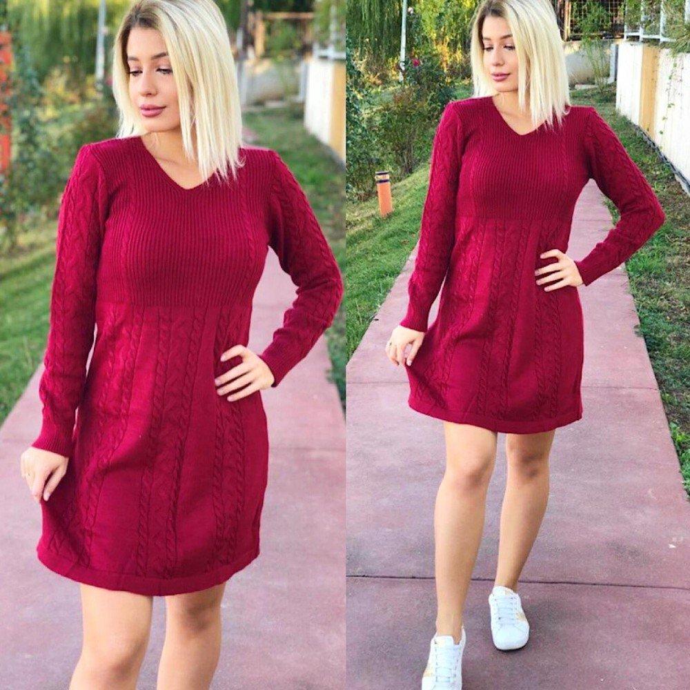 Rochie dama visinie ieftina din tricot pentru iarna
