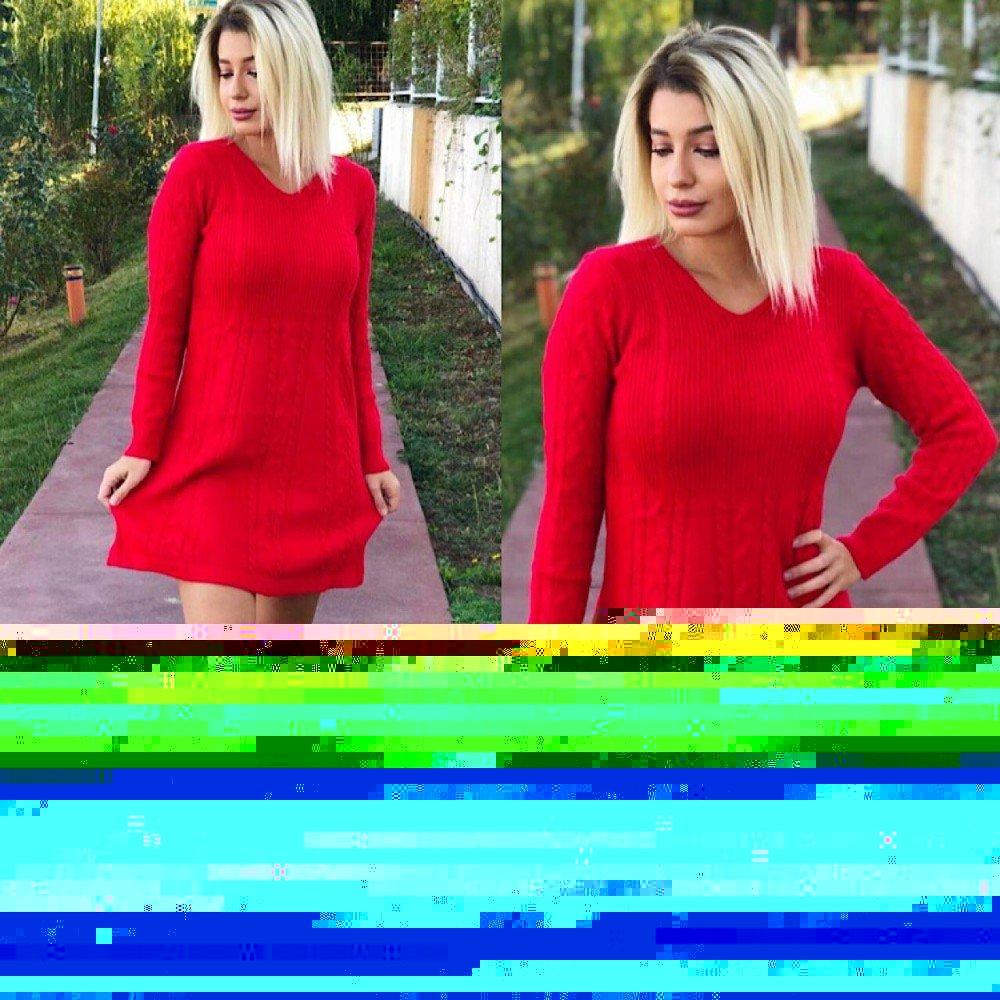 Rochie rosie tricot casual de zi pentru iarna