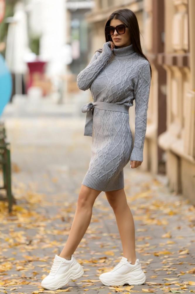 Rochie scurta tricotata gri groasa pe gat cu cordon