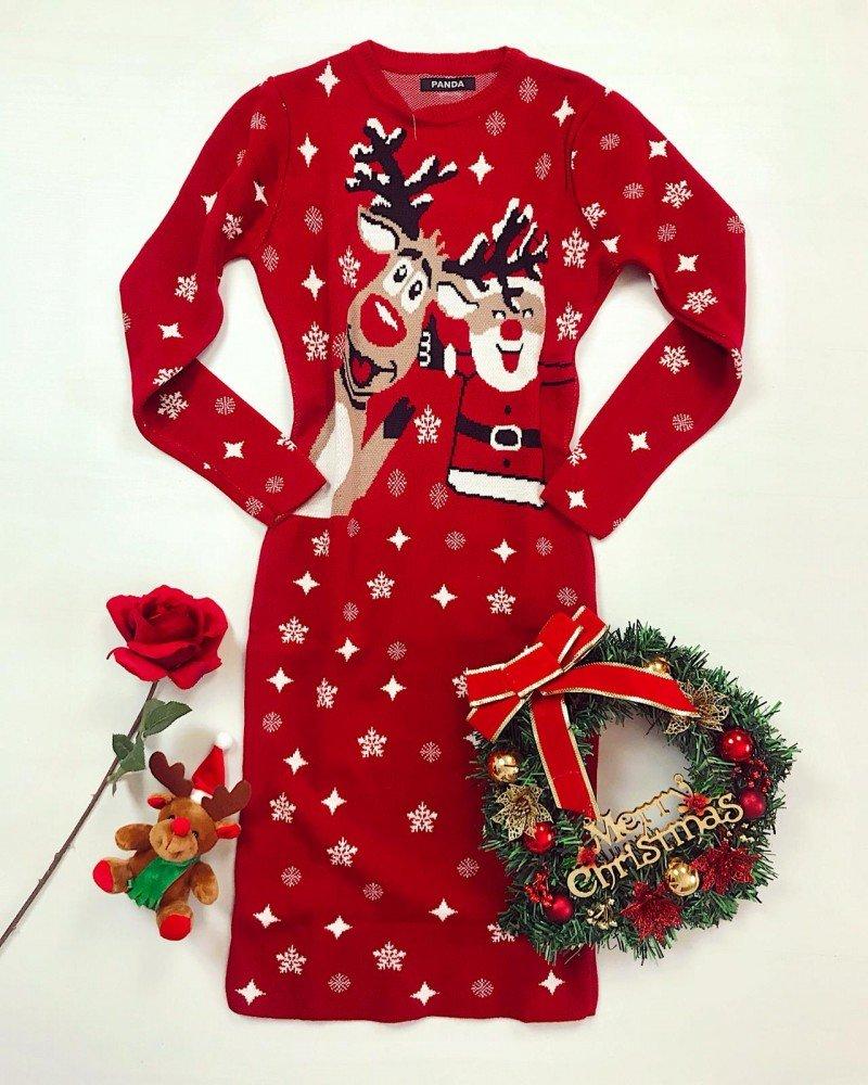 Rochie rosie tricotata pentru Craciun cu imprimeu reni