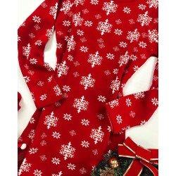 Rochie rosie din tricot cu imprimeu fulgi pentru Craciun