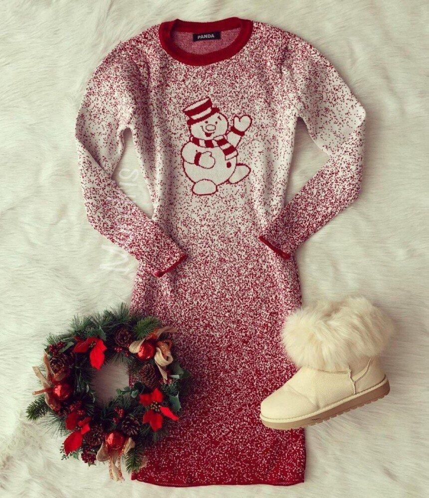 Rochie rosie pentru Craciun cu imprimeu om de zapada