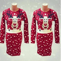 Rochie rosie tricotata pentru Craciun cu imprimeu ren