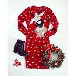 Rochie tricotata rosie lunga cu imprimeu ren pentru Craciun