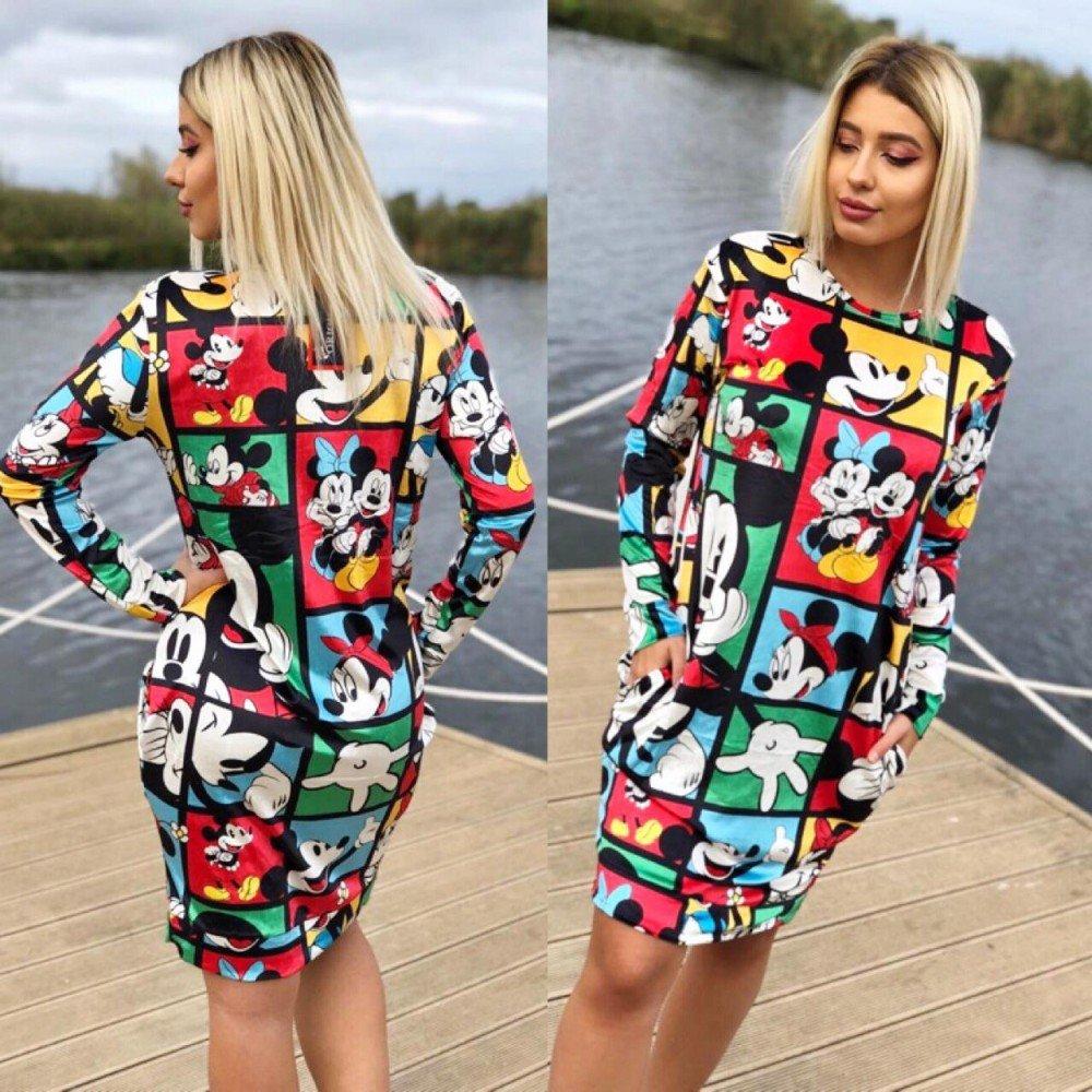 Rochie scurta colorata de zi casual cu imprimeu Mickey