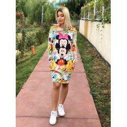 Rochie scurta de zi colorata cu imprimeu Cuplu Mickey & Minnie