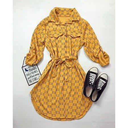 Rochie scurta galben mustar casual cu imprimeu