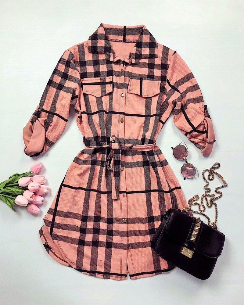 Rochie scurta cu carouri roz pudra cu carouri