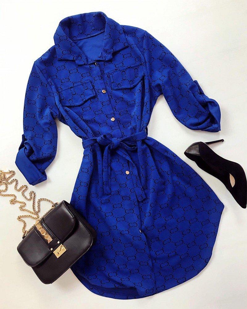 Rochie scurta de zi casual albastra cu imprimeu