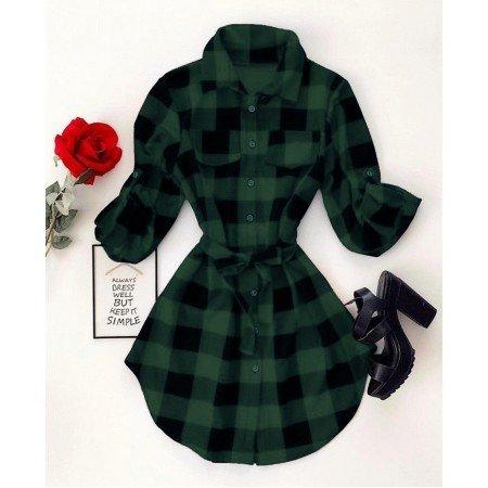 Rochie scurta de zi cu cordon verde inchis