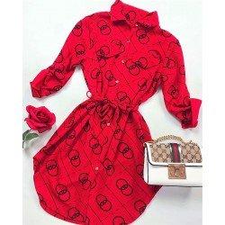 Rochie scurta rosie cu imprimeu si cordon