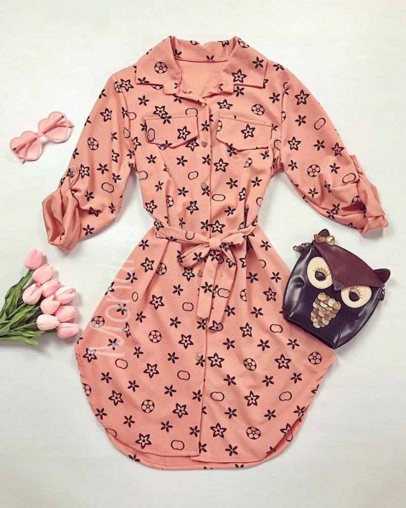 Rochie scurta de zi roz cu imprimeu si cordon