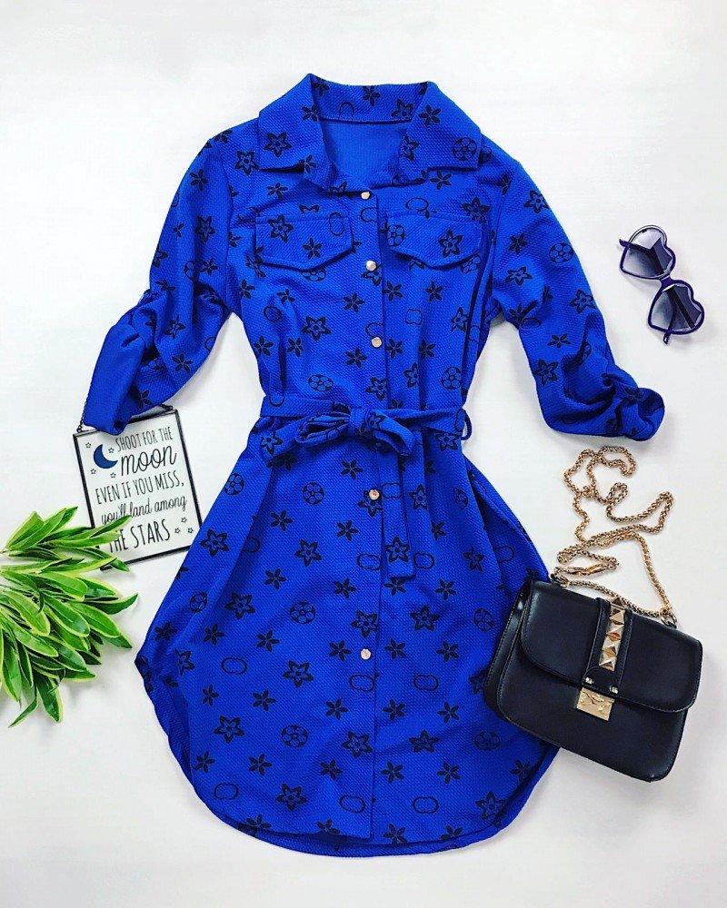 Rochie scurta casual de zi albastra cu imprimeu si cordon