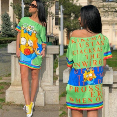 Rochie scurta verde casual cu imprimeu Simpsons