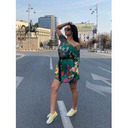 Rochie scurta verde casual cu imprimeu Vogue