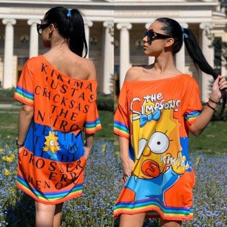 Rochie scurta de zi portocalie cu imprimeu Simpsons