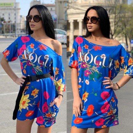 Rochie scurta albastra casual cu imprimeu Vogue